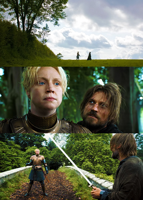 corvidstoe:  anhaga:   #the adventures of brienne and some hobo #that first cap is some joe wright pride and prejudice shit #it is a truth universally acknowledged that a single man in possession of a good fortune must be in want of a lady knight to beat him up  The adventures of brienne and some hobo