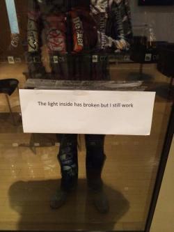 itswalky:  willsmiff:  kayleyhyde:  We all know that feeling, vending machine  #i am also full of snacks and darkness  For a long confused moment I thought I had stumbled upon vending machine shaming.