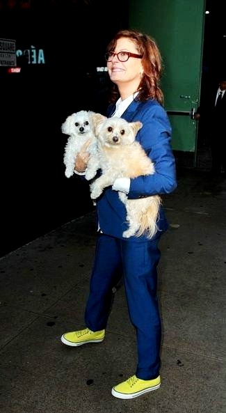 Susan Sarandon with her puppies Rigby and Penny at Good Morning America TV Show on 17 April 2013 in New York