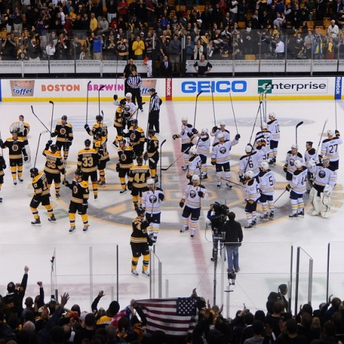 ohryankelley:  The Bruins and Sabres salute Boston following last night's game. (via: nhlbruins)