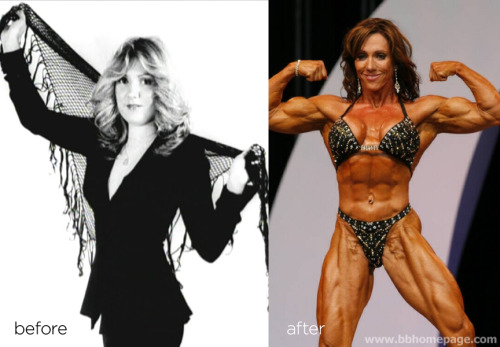 Gayle Moher Before & After Bodybuilders aren't born… they're forged. Gayle Moher in Stevie Nicks fashion on the left and mature hardened steel on the right. Beautiful in both, but the older Gayle packs way more punch.