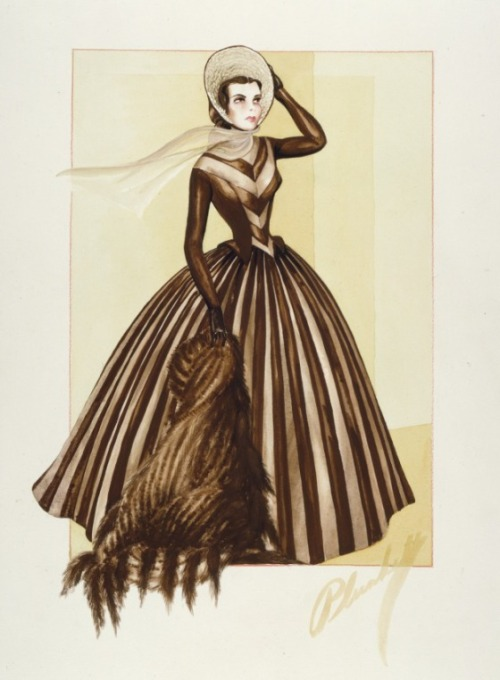 Costume design by Walter Plunkett for Jennifer Jones in Madame Bovary (1949). From LACMA
