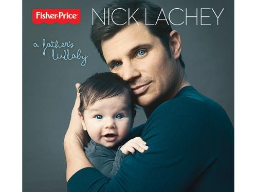 surisburnbook:  Nick Lachey has a new album of lullabies out from renowned music label Fisher-Price, and the cover features him and his admittedly cute baby, Camden. Using your baby to sell music … yep, this sounds like something the Lacheys would do.