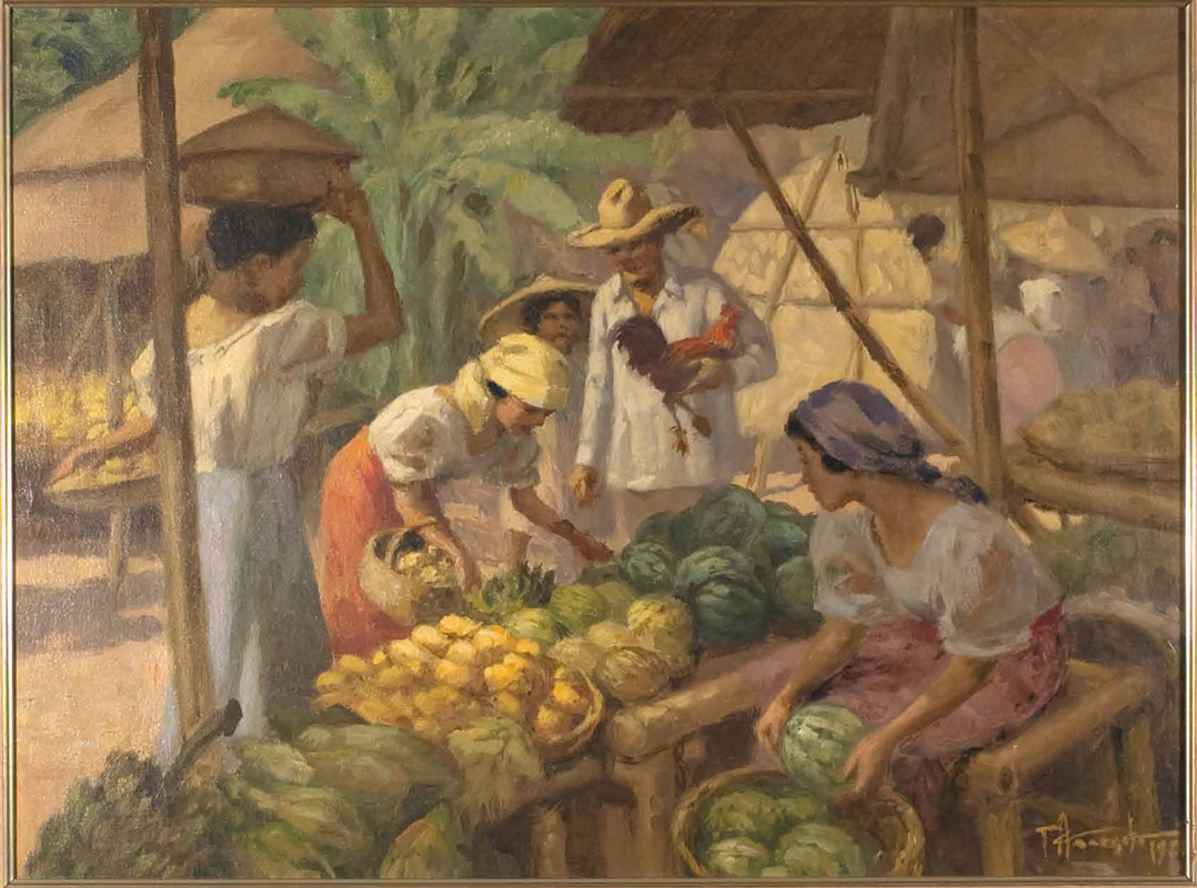 "Was just reminded of this painting as we passed by several market vendors in Zambales two days ago. What fruits to buy when you're in a Philippine marketplace? Filipino Painter and National Artist Fernando Amorsolo gives us an idea in this painting he entitled ""Fruit Vendor"" he did in 1961.  Never miss the mangoes (Philippine mangoes are the sweetest in the world), watermelons, bananas (of different kinds like Lacatan, Latundan, and Señoritas).  *Source of photo from Frazer Fine Art."