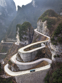Hairpins, Tianmen Mtn. China | by Tom Horton | via travelingcolors  AJ this is why we should go to China and not Japan.