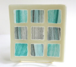 Fused Glass Art Plate in Shades of Aqua and Gray by bprdesigns