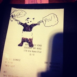 The waitress drew a monkey on our receipt so mark drew a panda bear saying thank you.