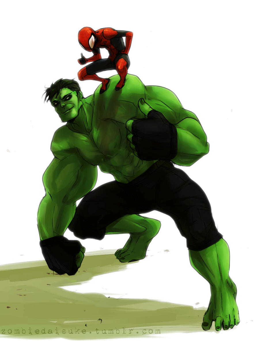 HULK AND TINY SPIDER.  I like the juxtaposition of these two.