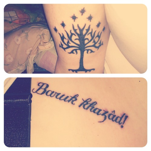 My tree of Gondor, and the Durin war cry in Khuzdul :)