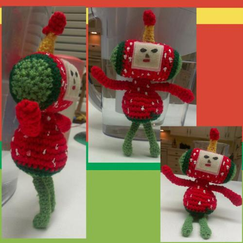 darkteacrafts:  It's the Ichigo cousin from Katamari. She was so much fun to make and am now planning on making the rest of the cousins. If you want one send me a message!