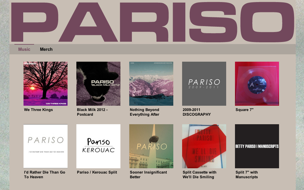 "10% off everything at http://pariso.bandcamp.com/ until the end of the month + free Sooner Insignificant Better download with any merch purchase using code ""OLDBASTARD"" to celebrate our bassist Stuart's impending 30th Birthday!"