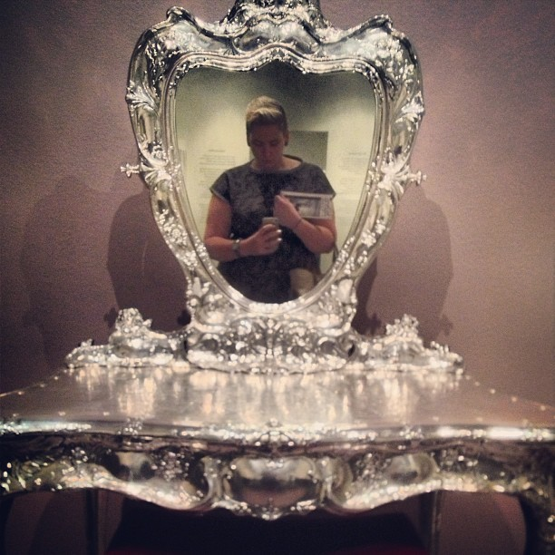 Silver dressing table, dork reflection. (at New Orleans Museum of Art)