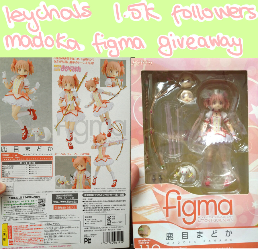 leychal:  LEYCHALS 1,500 FOLLOWERS GIVEAWAY thank you for 1.5k followers, to say thank you, i'm giving away this madoka kaname figma!! i've had her for ages unopened and never did anything with her, so i thought some people on tumblr might want her more than me! RULES must be following me, as this is a follower appreciation giveaway! reblog as many times as you want, 1 reblog = 1 entry likes do count, but you can only like once no giveaway blogs!!! must have permission to mail to you! i will ship anywhere in the world and i'll pay for shipping of course! winner must have their ask box open and reply within 48 hours, if they dont, i'll pick a new winner! ends 15th may! so get reblogging if you want to enter ^q^ thank you!!!
