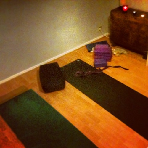Makeshift yoga studio. Also doubles as our living room. :)