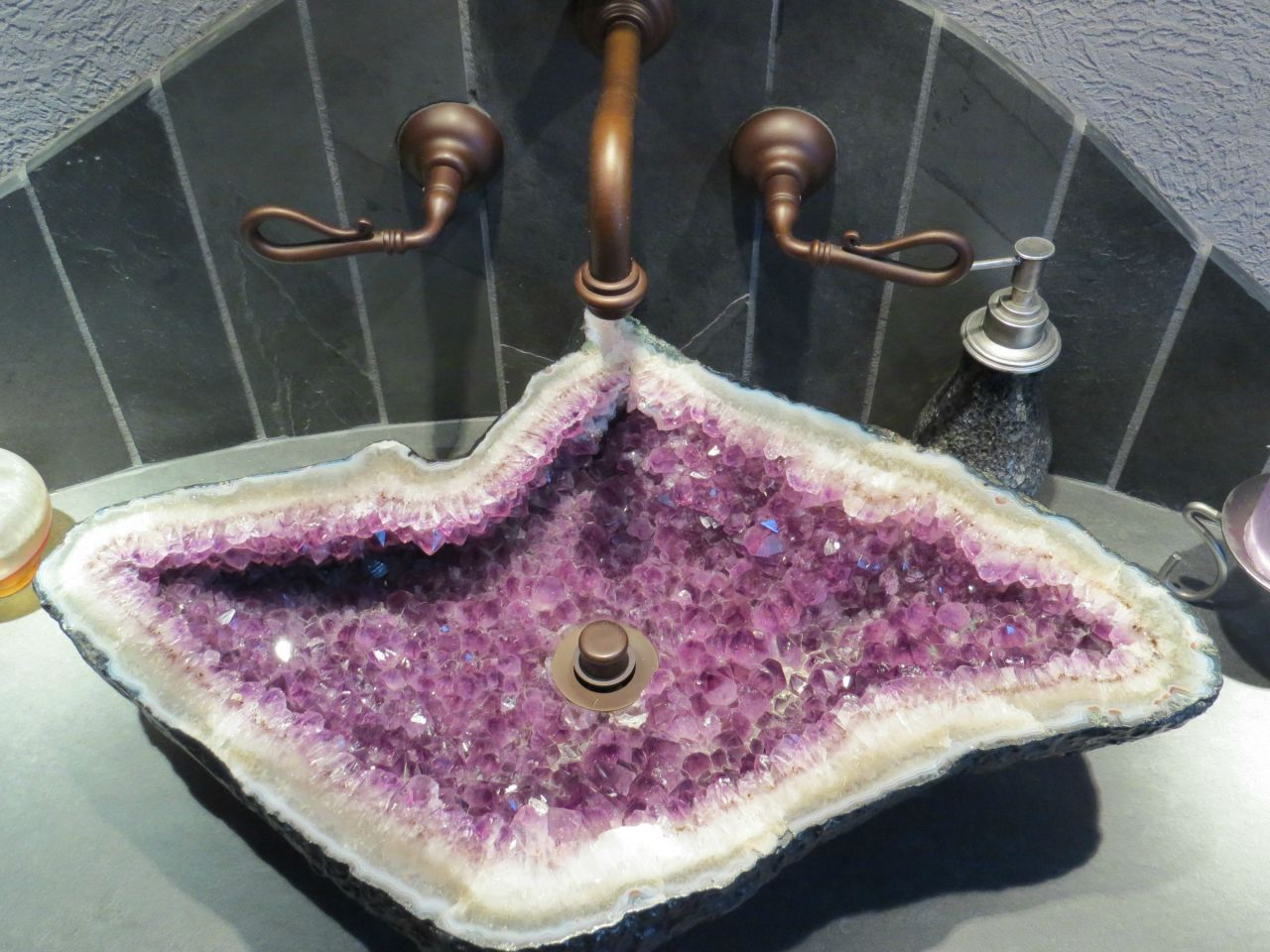 ifuckingloveminerals:  As pretty as Brazilian amethyst vugs are, they are still full of crystals. Cleaning this thing would be like trying to floss a Megalodon. Whoever came up with the idea is an evil genius.