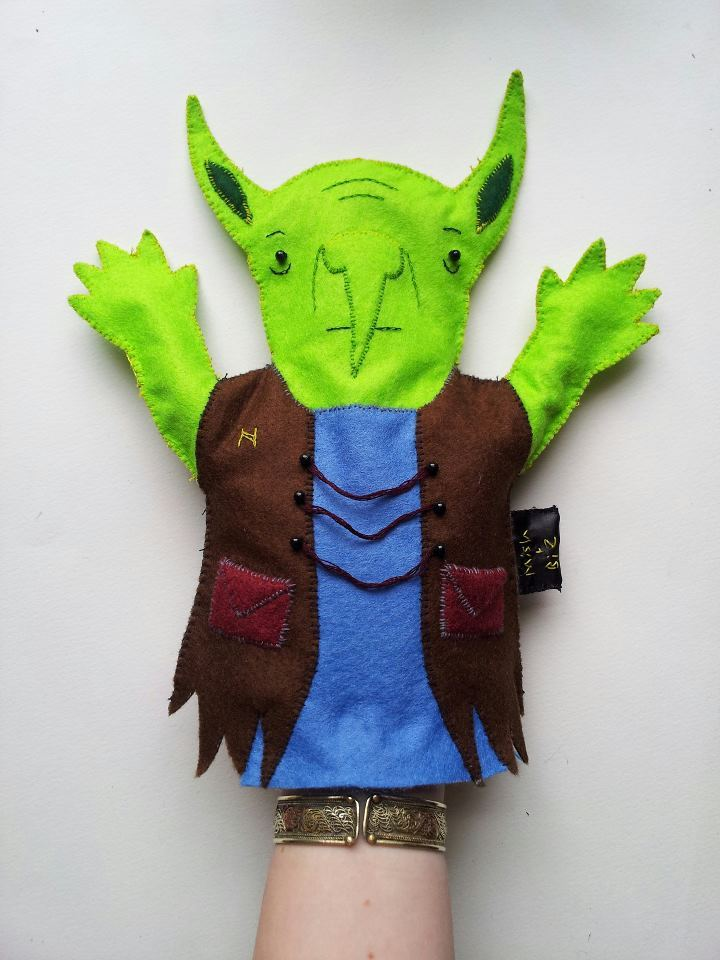 Hand-puppet common goblin.  Designed by Mish (http://mishoftheearthbeat.tumblr.com) and sewn by myself.