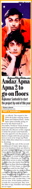 ★ Andaz Apna Apna 2 to go on floors ! Rajkumar Santoshi to start the project by end of this year…