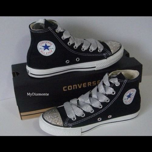 Black Converse Shoes Featuring Clear Swarovski Crystals  visit our facebook page @facebook.com/Mydiamonte and site diamonte.com.au