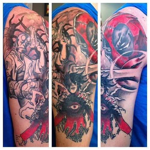 fuckyeahtattoos:  Update to sleeve! Thanks to Dave Schultz at Hanger 18 Tattoos - London, Ontario. davefnschultz on instagram