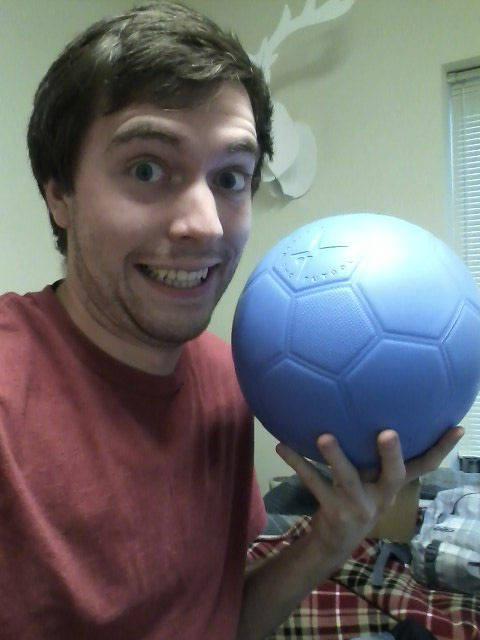 "Guess what came in the mail today?! The One World Futbol Project soccer (fut) ball (bol) I ordered! I bought it cause it's blue. Okay no not really. I bought it cause OWFP (http://www.oneworldfutbol.com/) is a one-for-one organization who created these ""indestructible"" footballs for children in need, who live in areas where things like this are hard to get, hard to keep, or just aren't had. While i may be needy, I am not a child in need. Like I said, they're ""one-for-one"", so for every football bought, they give one to a (real) child in need. Here's from the site: Virtually-Indestructible. Unlike any inflatable ball on the market, the One World Futbol never needs a pump and never goes flat, even if punctured. The ball is made using state-of-the-art technology that requires no stitching and is designed to have the same rebound characteristics as a traditional soccer ball. It's the same size and weight as a standard soccer ball, but it can also be used for netball, volleyball, and many other games. All-terrain. The One World Futbol is ideal for any playing surface, not just grass or regulation soccer fields: indoors, on concrete, on blacktop, on grass, on a beach, on dirt, or even on a rocky field. The ball can withstand the harshest conditions without deflating. Sustainability. The ultra-durability of the One World Futbol also helps meet a significant environmental challenge by eliminating the waste of discarded, punctured soccer balls. In Africa alone, 20 million deflated balls make their way into trash heaps every year. Buy One, Give One. For every One World Futbol you buy through our ""Buy One, Give One"" program, we give a second ball to children and youth in need through organizations working in disadvantaged communities such as refugee camps, war zones, disaster area and inner cities. No Child Labor. Many traditional soccer balls are still stitched together by hand by children and adults working under deplorable conditions in Pakistan, China, and India. The One World Futbol is manufactured using state-of-the-art technology that does not require stitching.  if you play soccer/football and want to give to an awesome organization, consider buying one-for-one or just buy one for them!"