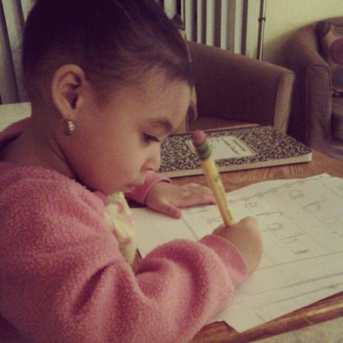 This is my 2 year old every night doing homework. #startearly #proudmama #tuition$doinggood