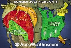 Drought in West; Frequent Storms in Midwest, East, South Our summer forecast has been released, anticipating that most areas from the Mississippi Valley to the mid-Atlantic coast will have more days with rain and near-normal temperatures this summer, while heat and drought build over much of the West.