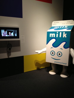 "lindsayzoladz:  ""Man, what if somebody made a human-sized replica of the milk carton dude from Blur's 'Coffee & TV' video?"" Does someone at the Museum of the Moving Image have a direct line to ALL OF MY HOPES AND DREAMS?   because this makes me happy, too"