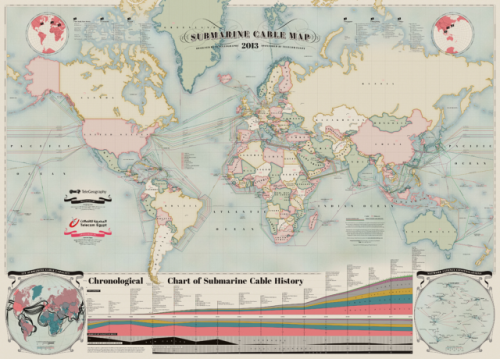 An awesome way to look at the world.  laughingsquid:  2013 Submarine Cable Map Depicts Communications Cables That Traverse the World's Ocean Floors