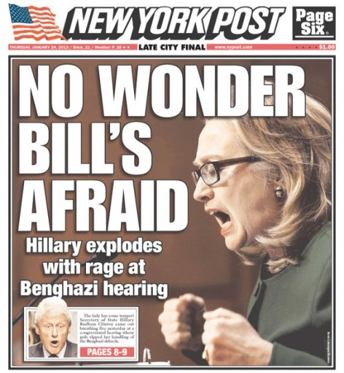 think-progress:  The New York Post goes after Hillary Clinton's (completely awesome) performance yesterday with a blatantly sexist cover.  Yeah, because if there's one thing New Yorkers don't like, it's Hillary Clinton. Oh, wait.