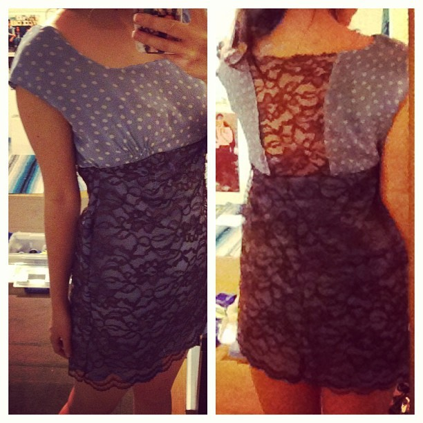 Late night sewing project. :) I love the back. :) #OOTD #fashion #clothes #homemade #lace #polkadots #DIY