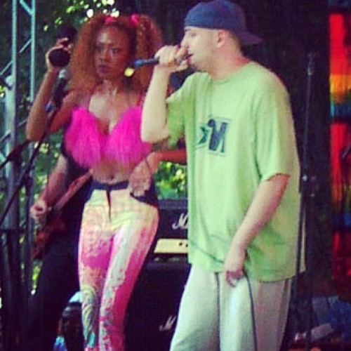 On stage w @hypnogaja & @sandybrownlive at a Pride festival in St. Louis circa 2001 #throwbackthursday #tbt