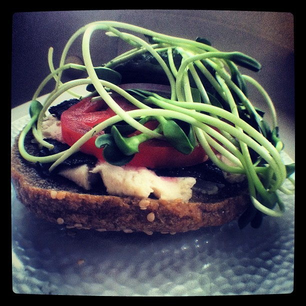 "#Raw #Vegan #Bagel and ""Lox"" leftover from yesterday.  #cafegratitude"