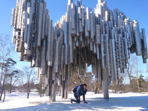 Tebowing under Sibelius Monument, Helsinki