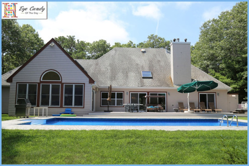 EYE CANDY OF THE DAY: MODERN IN MIDHAMPTON In the quaint Hamptons Village of Quogue is this five bedroom post modern home with beautifully landscaped grounds that feature an outdoor playground of epic proportions from the expansive deck, to an inground heated pool, hot tub, and outdoor shower. As you enter the spacious foyer you are greeted by a large great room with an impressive 18 ft. tall ceiling, fireplace and dining area adorned with glass sliders that leads onto a stunning deck as you perch over the backyard oasis pictured above. This wonderful deck is also directly accessible through sliding doors in the first floor master bedroom complete with a fireplace and en-suite bath, while the home's four additional bedrooms are located throughout both the first and second floors. Click here to learn more about this fine Hamptons property.  _________________________________  Sample all of our Real Estate Eye Candy Powered by Pinterest here. Don't miss our Snapshot of the Day for more stunning imagery, find us on Instagram @Halstead or visit our online gallery here.