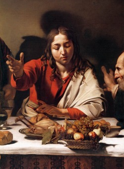 "tierradentro:  Detail from Caravaggio's ""Supper at Emmaus"", 1601-02."