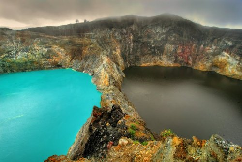 "wordslikeviolence-:  ramirezbundydahmer:  The Lakes of Mount Kelimutu, Indonesia are considered to be the resting place for departed souls, the lakes are locally referred to as ""the lake of evil spirits"". All 3 lakes change colour from blue to green to black or red unpredictably."