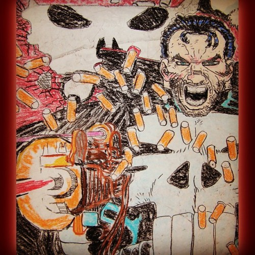 #oldart #draw #PUNISHER #charcoal #pastels #waybackwhen #livinginthepast #marvel #comics #comicbooks #warzone #1 #theme #guns #violence #nerd #geek #repost #throwbackfridayart #drawing #byDoctorNvrmore