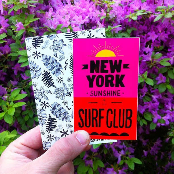 Got some stickers I helped with from the fine folks at @newyorksunshine / @sunshinesurfclub  (at Dixieland Delight)