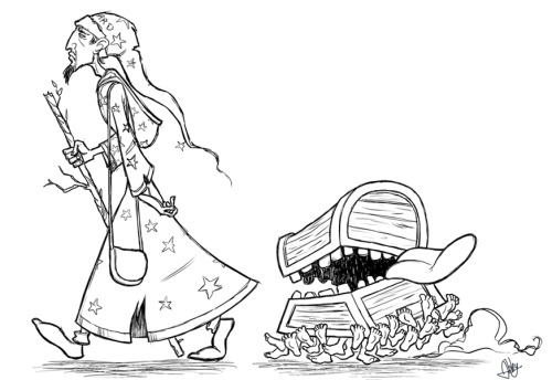 Rincewind and Luggage sketchy doddle thing! I do like a bit of Discworld.