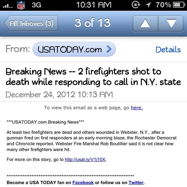 dumbmasses:  What is this world coming to?! Not even firefighters are safe when responding to duty. Unreal. God bless. #nyc #awful #tragedy #fdny #bless