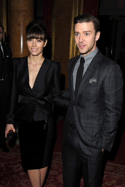 Jessica Biel and Justin Timberlake - Tom Ford show at London Fashion Week 2/18/13
