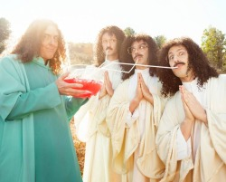 holybazookas:  Weird Al with the Lonely Island guys for GQ's new Comedy Issue.