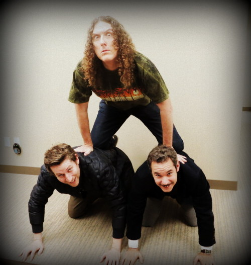 Scott Aukerman, Al Yankovic and Paul F. Tompkins looking remarkably awesome.