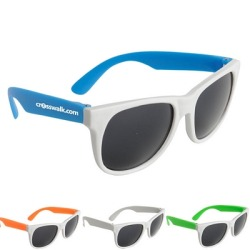Want a COOL Wedding Handout? Promotional White Frame Sunglasses can be custosmized with no set up fees.