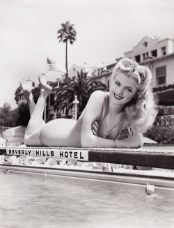 Dolores Moran at the Beverly Hills Hotel, in Los Angeles, California, c. 1943.
