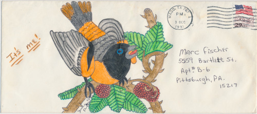 Prison envelope art by Danny Davis, who was incarcerated in Gatesville, Texas when he sent me this letter in 1991.