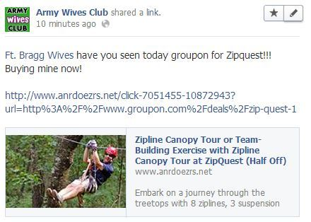 Ft. Bragg Wives have you seen today groupon for Zipquest!!! Buying mine now!http://www.anrdoezrs.net/click-7051455-10872943?url=http%3A%2F%2Fwww.groupon.com%2Fdeals%2Fzip-quest-1