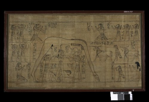 """The Greenfield Papyrus c. 940 BC Found Deir el Bahri, Egypt Length: 93cm Width: 53cm The """"Greenfield Papyrus,"""" is one of the longest and most beautifully illustrated manuscripts of the 'Book of the Dead' to have survived. Originally, over thirty-seven metres in length, it is now cut into ninety-six separate sheets mounted between glass. It was made for a woman named Nestanebisheru, the daughter of the high priest of Amun Pinedjem II. As a member of the ruling elite at Thebes, she was provided with funerary equipment of very high quality. Many of the spells included on her papyrus are illustrated with small vignettes, and besides these there are several large illustrations depicting important scenes.One of these scenes, shown here, is a symbolic representation of the creation of the world. According to mythology, this occurred when the sky goddess Nut was raised aloft to form a heavenly canopy above the earth, personified as the god Geb. Here the earth god is shown as a semi-recumbent figure stretching out his limbs while the elongated body of Nut arches above him. Her feet touch the ground at the eastern horizon and her fingers at the western horizon. She is supported by a third key-figure, Shu, god of the atmosphere, who is aided in his task by two ram-headed deities. This scene became a common one on papyri and coffins in the 21st Dynasty, for the process of creation which it depicts was closely linked in the minds of the Egyptians with the renewal of life for the dead. On this papyrus, Nestanebisheru herself kneels at right raising her hands in adoration. Source: British Museum"""