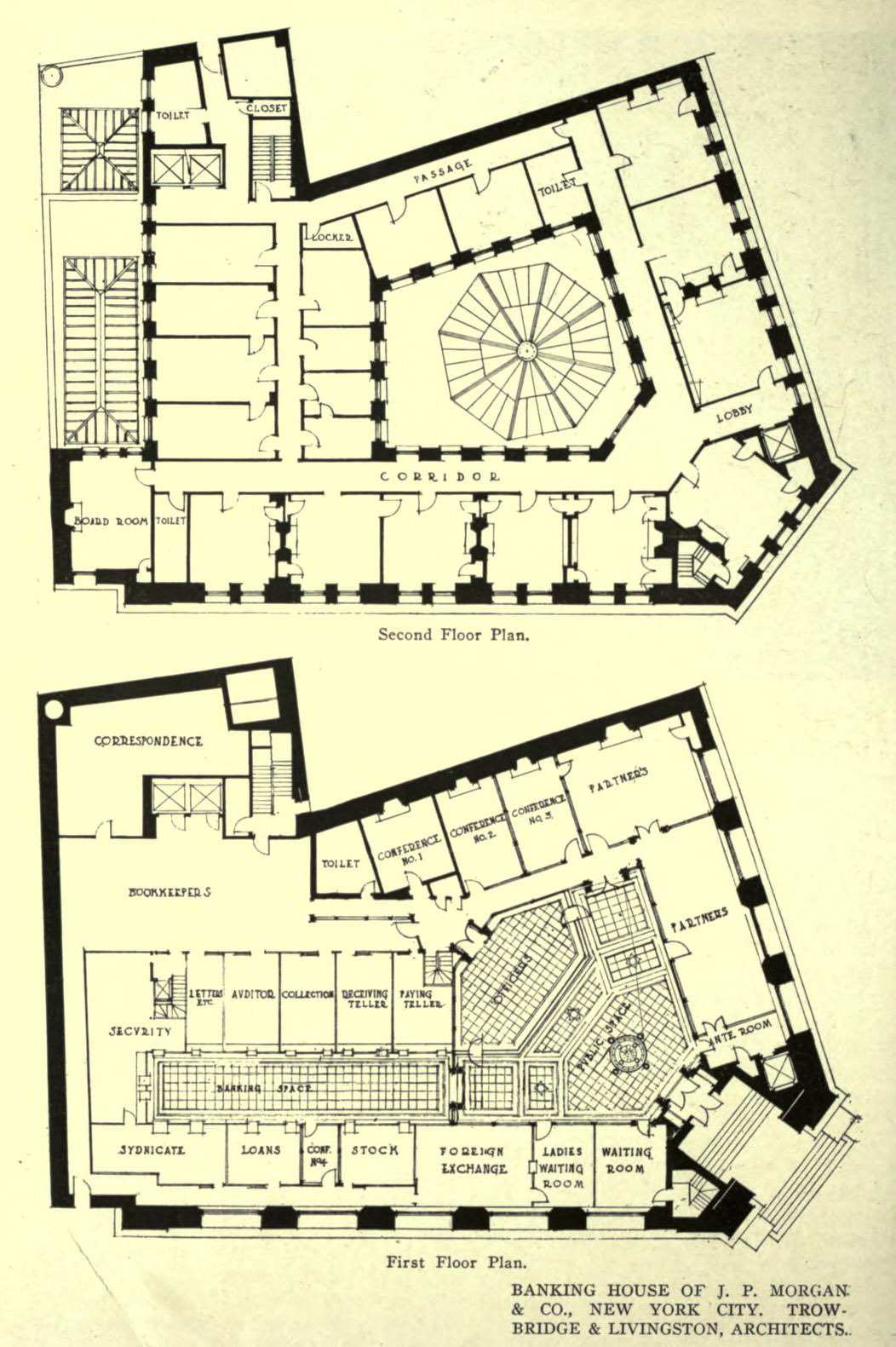 Floorplans of the banking house of J. P. Morgan & Co., New York City