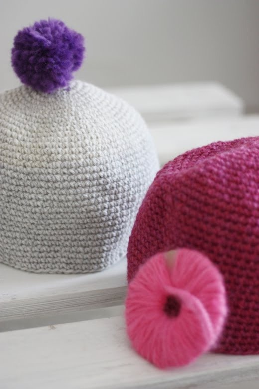 Beanies + Pom Poms Crocheted by the crafty Taru from Sort of Pink